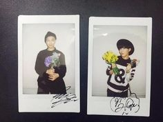 BTS 150429 Rap Monster and J-Hope signed polaroids | cr: Naver Starcast