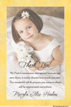 First Holy Communion Photo Thank You - Pink Girl Card