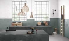urban industrial kitchen with sage green walls and concrete effect quartz worktops from caeserstone Urban Kitchen Design, Kitchen Worktop, Concrete Kitchen, Kitchen Design Companies, Modern Kitchen, Urban Kitchen, Caesarstone Kitchen, Grey Kitchen Colors, Olive Green Kitchen