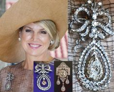 Yesterday, during the state visit in Portugal , Queen Máxima wore a new version her diamond bow (Laca) brooche. The bow brooche with a pear… Diamond Bows, Diamond Tiara, Royal Crowns, Tiaras And Crowns, Dutch Queen, Dutch Royalty, Royal Jewelry, Queen Maxima, Crown Jewels