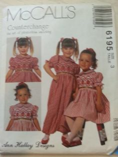 McCall's 6195 Girl's Smocked Dress by Ann Hallay Designs Size 3 McCall's