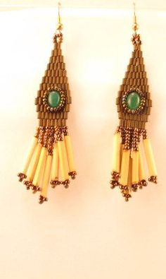 Dangle earrings with adventurine cabs and by WildwoodBeadworks
