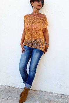 Jersey de punto sin mangas top tejido calado jersey de por EstherTg