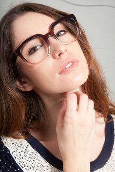 Oversized square two tone eyeglasses