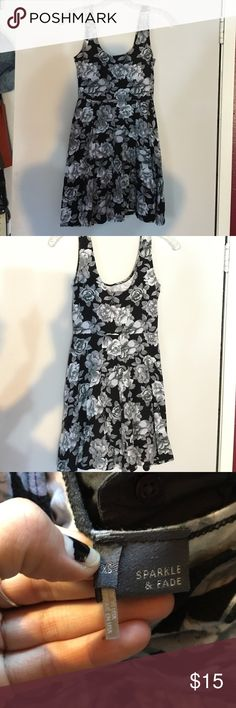 Skater Dress Black and grey rose skater style dress from urban outfitters. Hardly worn. Sparkle & Fade Dresses Mini