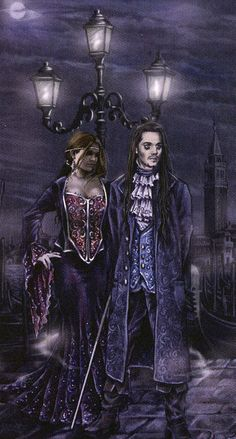 m Vampire f Vampire night urban coastal Victoria Frances - Stone Tears - Puppet Theatre 19 Gothic Vampire, Vampire Art, Gothic Fantasy Art, Fantasy Artwork, Anne Stokes, Valence, France Art, Dark Pictures, Art Corner
