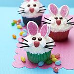 recipe: bunny face cupcakes looking for a fun dessert for the easter dinner table? check out these bunny face cupcakes! Easter Bunny Cupcakes, Cute Cupcakes, Easter Treats, Easter Food, Mocha Cupcakes, Holiday Cupcakes, Banana Cupcakes, Coconut Cupcakes, Easter Cake
