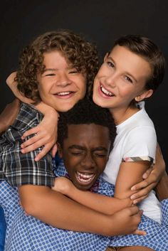 Gaten Matarazzo, Caleb McLaughlin, and Millie Bobby Brown from Stranger Things