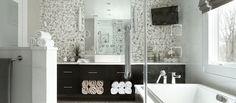 Bathrooms - JENNIFER PACCA INTERIORS #interiordesign #homedecor #design #decor #marble #vanity #goals #architecture #inspiration #interior #bathroom #masterbathroom #luxurybathroom #tiles #inspo #beforeandafter #blackandwhitedecor #newbathroom #dreambathroom #backsplash #luxuryrealestate #bathroomremodel #bathroomdesign #realestate #remodeling  #dreamhome