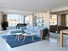 African pattern rug designed by Milton Glaser in a Paseo de Gracia apartment, Barcelona.