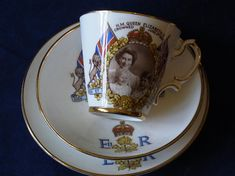 Queen Elizabeth Prince Charles and Princess Anne Royal Family Picture Bone China Trio Souvenir Coronation 1953 Royal Family Tea ware Queen Elizabeth Prince Charles, Queen Elizabeth Crown, Queen Crown, Royal Family Pictures, English Royalty, Princess Anne, Bone China, Kettle, Cup And Saucer