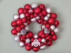 OHIO STATE BUCKEYES Ornament Wreath by dottiegray on Etsy, $60.00