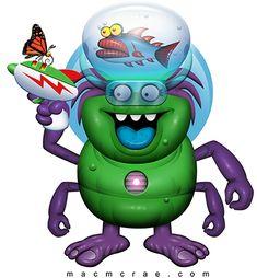 Whimsical Monster Illustration and Logo Design Monsters In My Head, Funny Monsters, Cartoon Monsters, Green Monsters, Little Monsters, Monster Names, Monster Art, Magic Eye Posters, Mad Meme