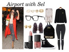 """""""Airport with Selena"""" by vicky-valentini ❤ liked on Polyvore featuring Moschino, Ray-Ban, NARS Cosmetics, Eddie Borgo, Topshop and selena"""