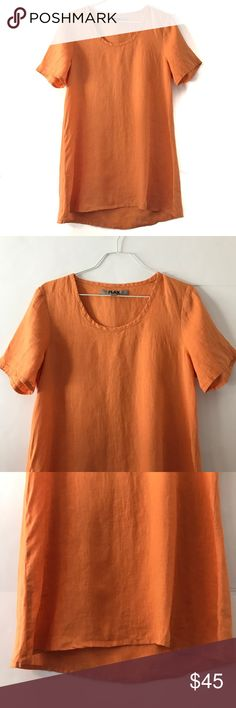 "[FLAX] 100% Linen Orange Short Sleeve Tunic FLAX 100% Linen Bright Orange Short Sleeve Tunic. It is a little longer than a normal Short Sleeve Shirt so it qualifies as a Tunic. Perfect with Leggings or just sandals. Super Cute! Could also be worn as a bathing suit cover up. Excellent Condition. No Flaws. Size Petite. Bust-18"" Length-31"" FLAX Tops Tunics"