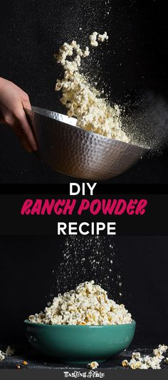 Homemade Ranch Powder Takes 5 minutes to make and lasts forever- This is the put-on-everything ranch powder spice mixture you can make right at home with ingredients probably already stocked in your pantry. Homemade Spices, Homemade Seasonings, Ranch Powder, Ranch Mix, Snack Recipes, Cooking Recipes, Homemade Ranch, Powder Recipe, Spice Mixes