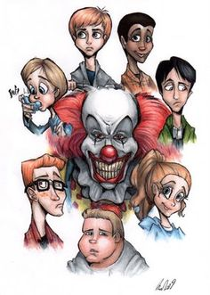 """Pennywise the clown and the """"Loser& Club"""" from Stephen King& """"It"""". Stephen King It, Stephen King Movies, Steven King, Le Clown, Creepy Clown, Clown Pics, Horror Icons, Horror Films, Book Lovers"""