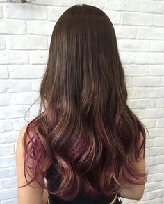Raspberry Ribbons A fresh hair color with added highlights, complemented with Ultrasonic Iron hair treatment for luscious locks! Hair Color Streaks, Hair Dye Colors, Ombre Hair Color, Cool Hair Color, Hair Highlights, Peekaboo Hair Colors, Peekaboo Highlights, Hair Dye Tips, Hair Colour Design