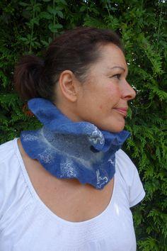 blue ruffled felt scarf ruffled neck warmer by hipposinhats