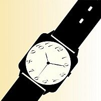 Illustration Of Silhouette Of A Watch With Black Strap