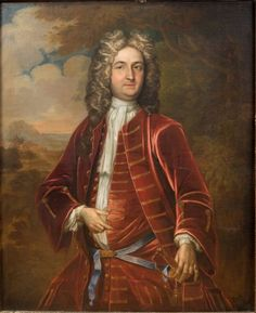 English School, 18th Century  Portrait of Gentleman in Red Jacket  Oil on canvas  50 x 40 inches