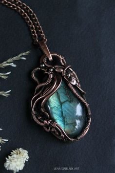 Copper pendant Wire wrap necklace Wire wrapped by LenaSinelnikArt