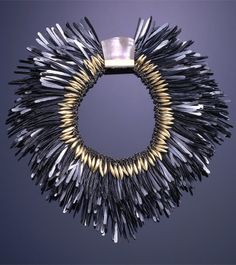 Necklace | Tone Vigeland.  Hammered steel nails, gold, silver, mother of pearl; chainmail form made of silver, covered with overlapping rows of hammered, flattened feather-like steel nails; row of small, gold pod forms along inner edge; large clasp covered by roughly square panel of pale rose mother-of-pearl with gold fastenings.