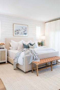 Beautiful bedroom idea - adding a woven bench to the end of the bed - bedroom ideas - small bedroom - coastal bedroom - white bedroom - modern bedroom - master bedroom Coastal Master Bedroom, Dream Bedroom, Home Bedroom, Modern Bedroom, Bedroom Decor, Bedroom Inspo, Bedroom Ideas, Bedroom Inspiration, Interior Inspiration