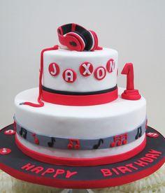 First Birthday Headphones Fondant Cake. Marble Cake with Chocolate Ganache Filling.