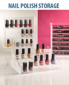 Looking for a stoage solution for your nail polish? Instead of chucking them in a container under your bathroom sink, why not diplay them in these beautiful Allure Acrylic Nail Polish Organisers. Choose from a wall mounted or freestanding stepped design. Simply beautiful!!