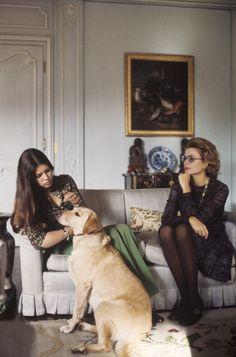 Grace & Caroline of Monaco in Paris c.1976. dog love, puppy love, pets and owners, golden retriever