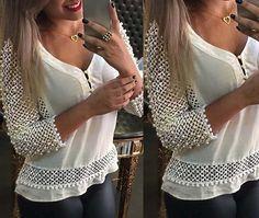 Camisa de la moda de las mujeres de la gasa del cordón del hueco del ganchillo de manga larga Tops Blusa Camiseta básica   eBay