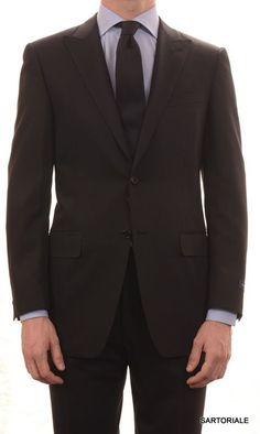 CANALI Italy Black Solid Peak Lapel Wool Business Suit Slim Fit NEW