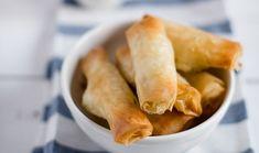 Φλογέρες με τυρί και ζαμπόν Snack Recipes, Snacks, Fresh Rolls, Starters, Chips, Cooking, Sweet, Ethnic Recipes, Food