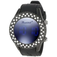 Amazon.com: Bombshell Women's BS1070BB Leslie Chic Black Strap Crystal Digital Watch: Watches