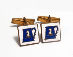 Antike Symbol-Manschettenknöpfe m. Humpen u. Pferd, Emaille, um 1910 Antique Cufflinks, Antiques, Accessories, Ancient Symbols, Enamel, Antiquities, Antique, Old Stuff, Jewelry Accessories