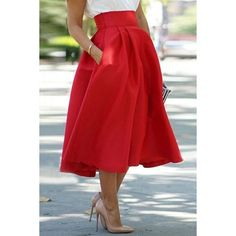 Noble High Waist Pleated Red Ball Skirt