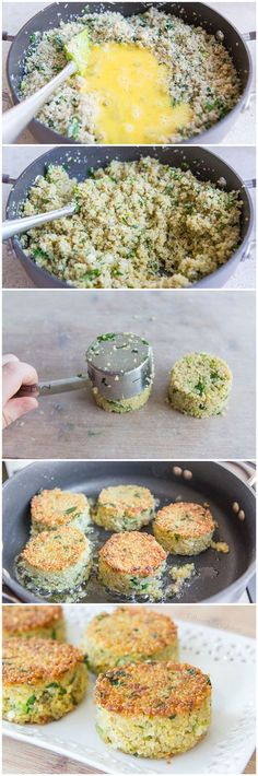 Quinoa Cakes with Parmesan Veggie Recipes, Low Carb Recipes, Diet Recipes, Vegetarian Recipes, Cooking Recipes, Healthy Recipes, Quinoa Dishes, Healthy Dishes, Healthy Eating