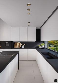 Cucina bianca e nera dal design moderno 15