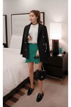 black MIAMASVIN coat - green lace mini skirt MIAMASVIN skirt