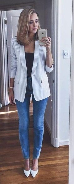 Striped Blazer + Black Bodysuit + Skinny Jeans                                                                             Source