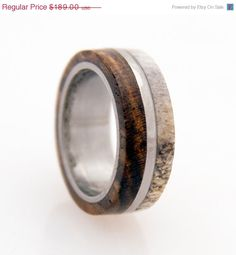 ON SALE 5 % OFF antler ring titanium ring with wood bocote deer antler band by aboutjewelry on Etsy https://www.etsy.com/listing/154774272/on-sale-5-off-antler-ring-titanium-ring