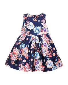 Sleeveless Pleated A-Line Dress, Size 8-14, Size: 10, Floral - Imoga