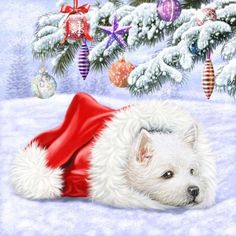 Скрапбукинг, рукоделие, Новогодние картинки с собачками