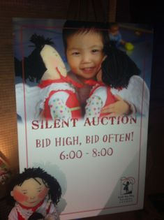 Silent Auction Sign Inspiration With kids pics or drawing saying thank you.