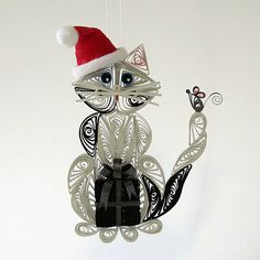 QUILLING Santas Helper Kitty Cat Hanging Ornament: by AGiftwithinaGift