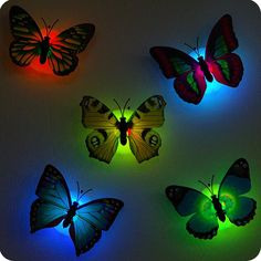 2017 Luminous Butterfly Nightlight chuck and stickers night lamp Indoor lighting wall lights home decorations