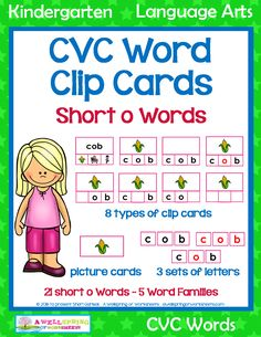 Lots of great cvc word activities for the 5 short o word families packed into one big package! Clip the missing letters into place, clip the picture, identify the vowels and consonants, and so much more. Please check it out! O Words, Short O, Kindergarten Language Arts, Picture Cards, Common Core Standards, Word Families, My Teacher, Fun Learning, Phonics