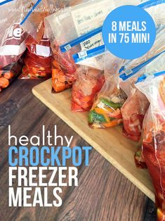 8 Healthy Crockpot Freezer Meals in 75 Minutes. (This post includes printable recipes and a grocery list.) I made these and they're healthy and delicious!