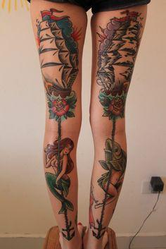 Ship, mermaid, merman tattoos